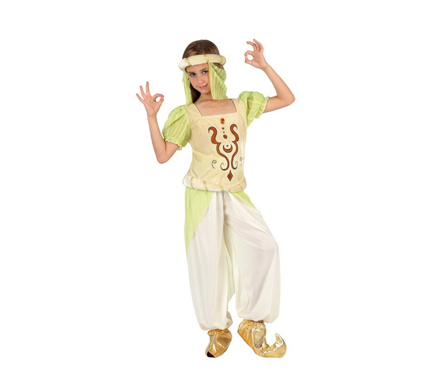 Disfraz de Bailarina Árabe para niñas de 5 a 6 años. Incluye pantalón, camisa y turbante.