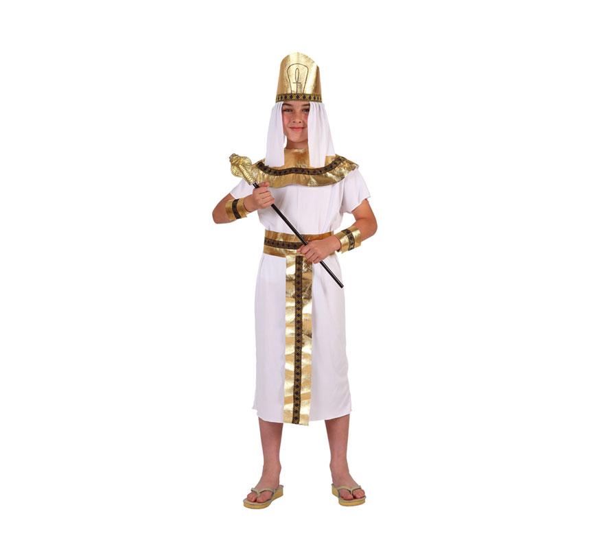 Disfraz de Faraón o de Egipcio para niños de 7 a 9 años. Incluye túnica, cinturón, muñequeras y tocado de la cabeza. Cetro NO incluido.