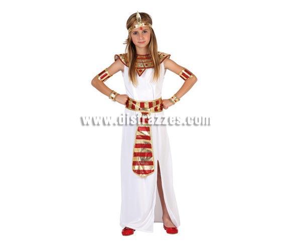 Disfraz de Faraona para niñas de 7 a 9 años. Incluye disfraz completo SIN zapatos. Disfraz de Cleopatra Reina del Nilo o Reina de Egipto para niñas.