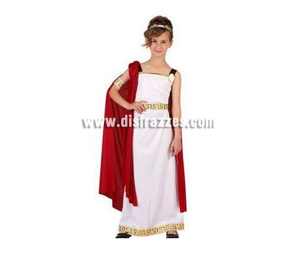 Disfraz de Romana para niñas de 10 a 12 años. Incluye túnica, manto, brazalete y corona.