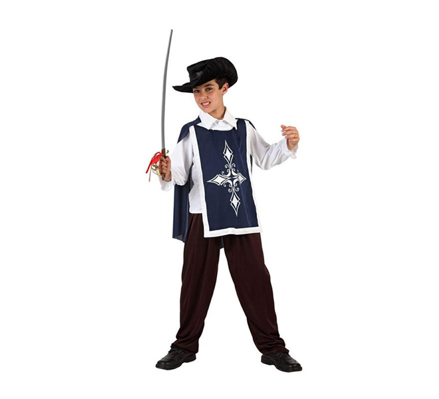 Disfraz de Mosquetero Azul para niños de 3 a 4 años. Incluye pantalón, camisa, casaca y sombrero. Espada NO incluida, podrás encontrar en nuestra sección de Complementos.