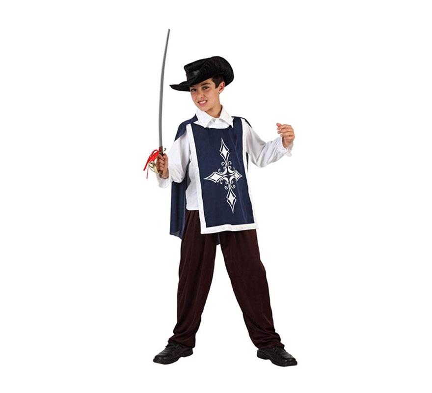 Disfraz de Mosquetero Azul para niños de 7 a 9 años. Incluye pantalón, camisa, casaca y sombrero. Espada NO incluida, podrás encontrar en nuestra sección de Complementos.