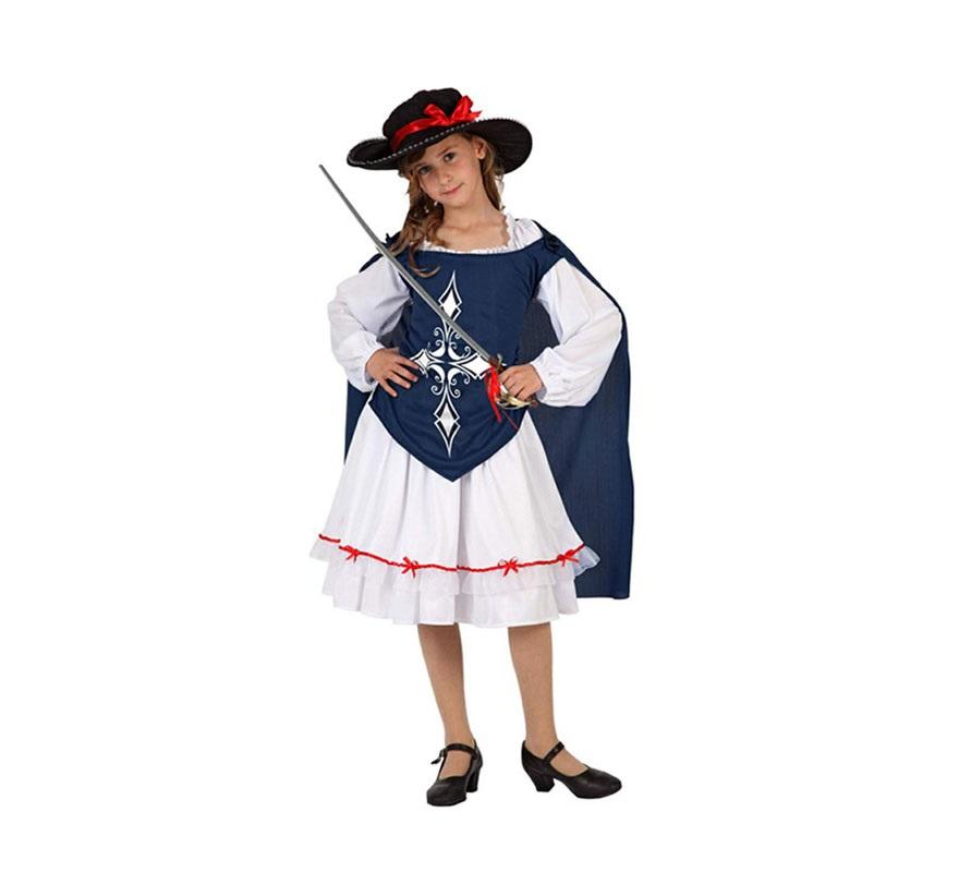 Disfraz de Mosquetera Azul para niñas de 7 a 9 años. Incluye falda, camisa con capa y sombrero. Espada y zapatos NO incluidos. La espada la podrás ver en la sección de Complementos.