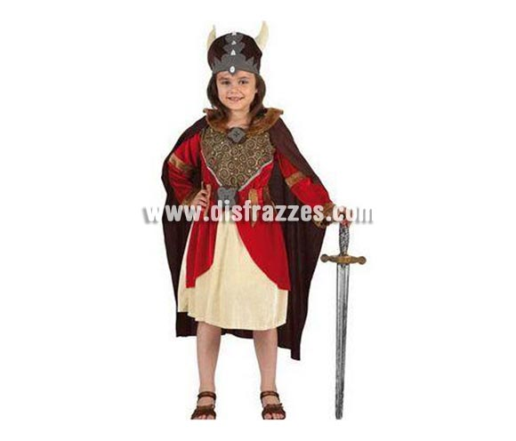 Disfraz de Vikinga para niñas de 10 a 12 años. Incluye vestido, cinturón, capa y casco. Espada NO incluida, podrás ver espadas en la sección de Complementos.