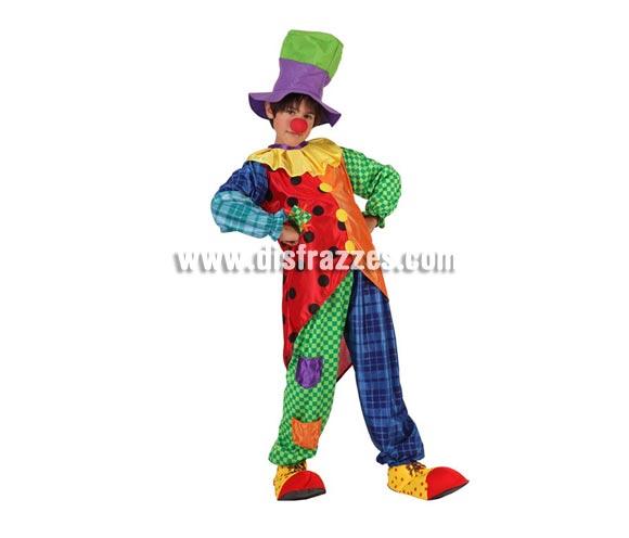 Disfraz de Payaso para niños de 7 a 9 años. Incluye pantalón, camisa con cuello y gorro.