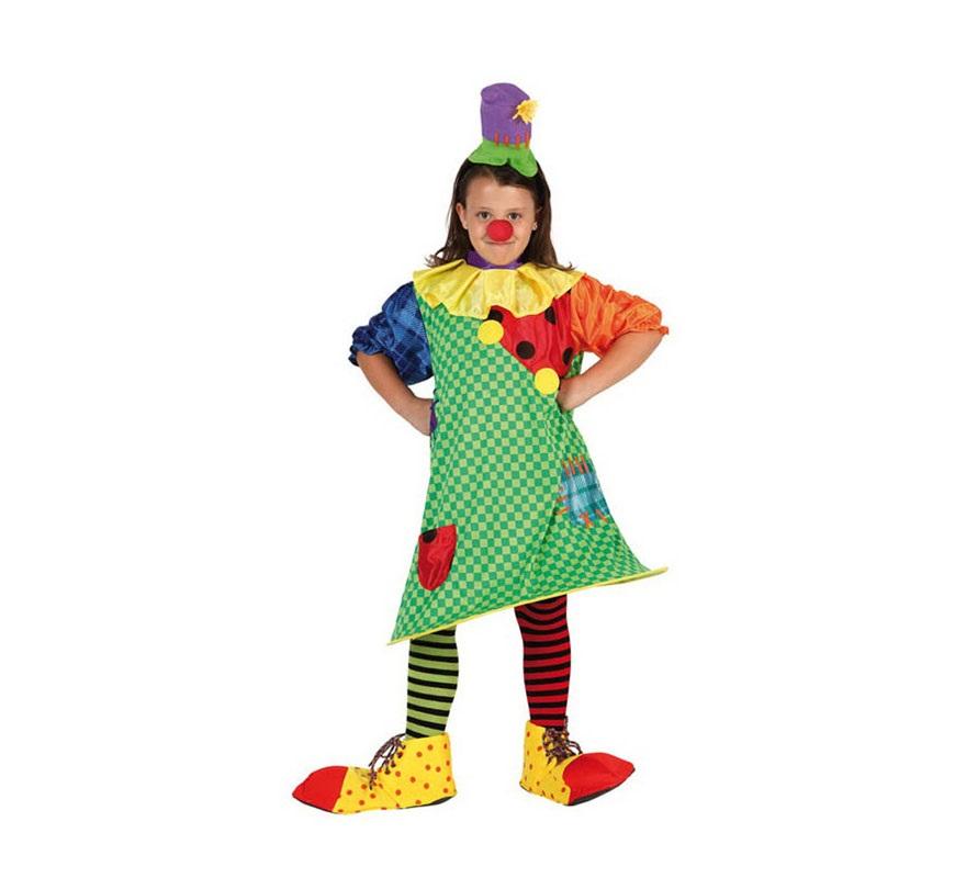 Disfraz de Payasa para niñas de 5 a 6 años. Incluye vestido con aro y gorro. Zapatos, Calcetines y Nariz NO incluidos, podrás verlos en la sección de Complementos.