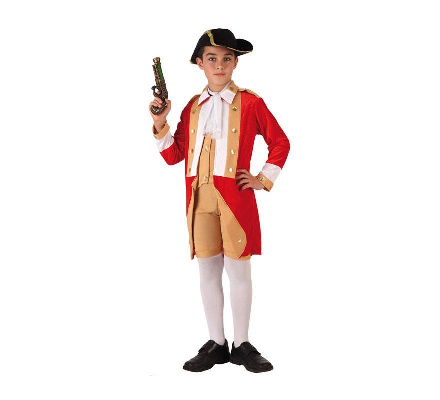 Disfraz de Casaca Roja o de Soldado Británico para niños de 10 a 12 años. Incluye pantalón, chaqueta, pañuelo y gorro.  El trabuco y las medias las podrás ver en la sección de Complementos.