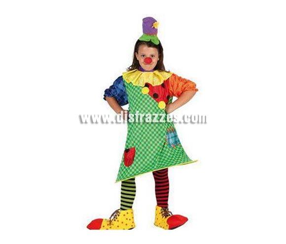 Disfraz de Payasa para niñas de 7 a 9 años. Incluye vestido con aro y gorro. Zapatos, Calcetines  y Nariz NO incluidos, podrás verlos en la sección de Complementos.