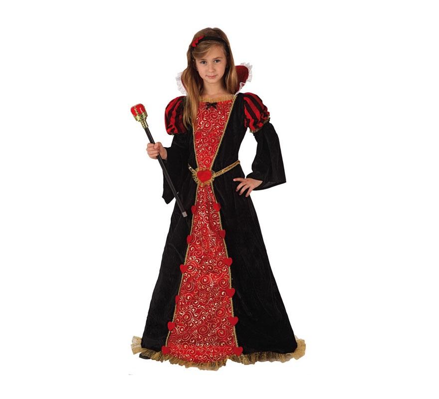 Disfraz de Reina Medieval para niñas de 7 a 9 años. Incluye vestido y diadema. Cetro No incluido, podrás encontrarlo en la sección de Complementos. También sirve como disfraz de Reina de Corazones para niñas.