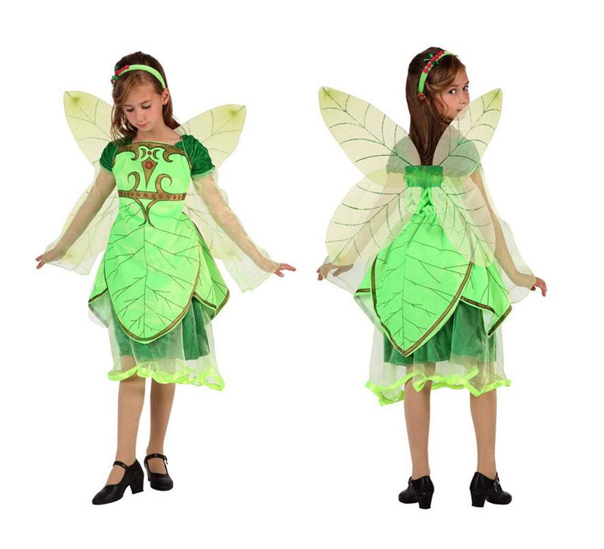 Disfraz de Hada del bosque con Alas para niñas de 7 a 9 años. Incluye disfraz completo.