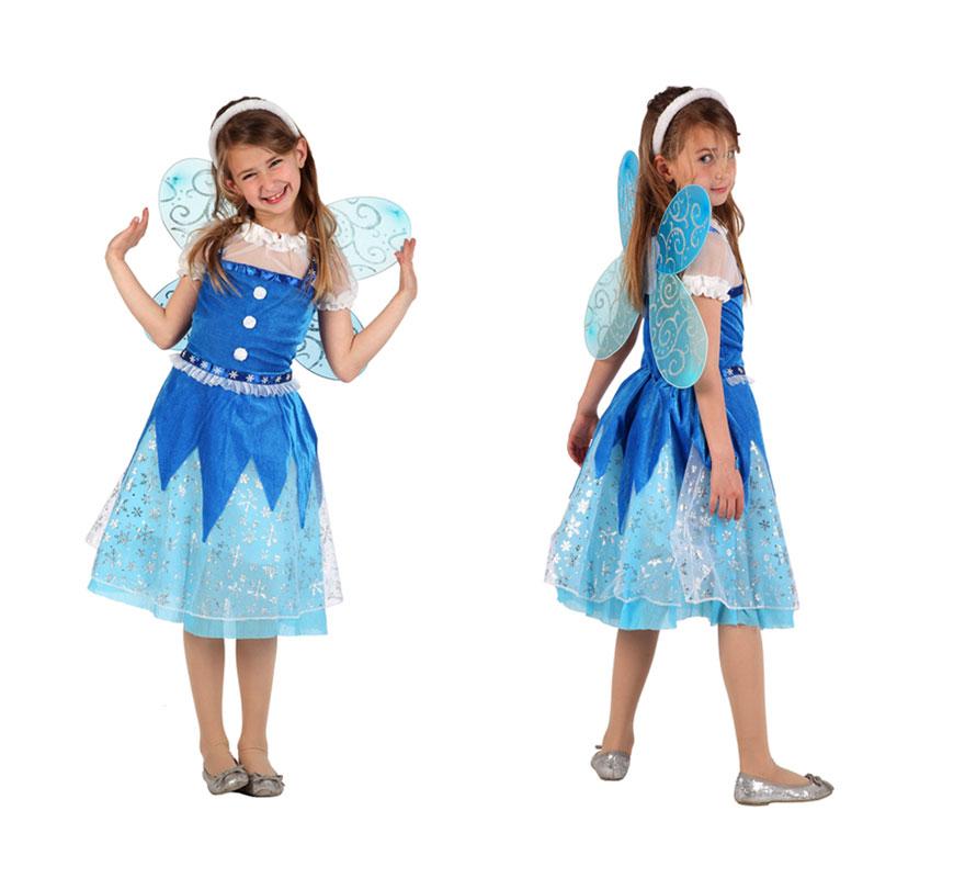 Disfraz Hada de Invierno para niñas de 7 a 9 años. Incluye disfraz completo.