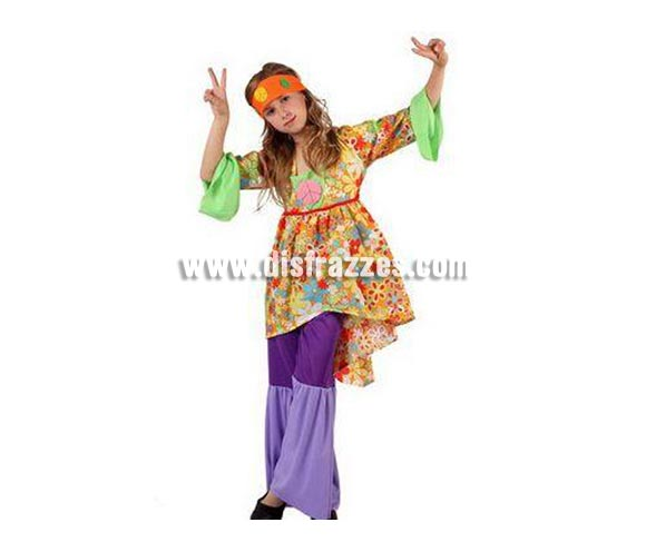Disfraz de Hippie para niñas de 3 a 4 años. Incluye camiseta, pantalón de campana y cinta de la cabeza.
