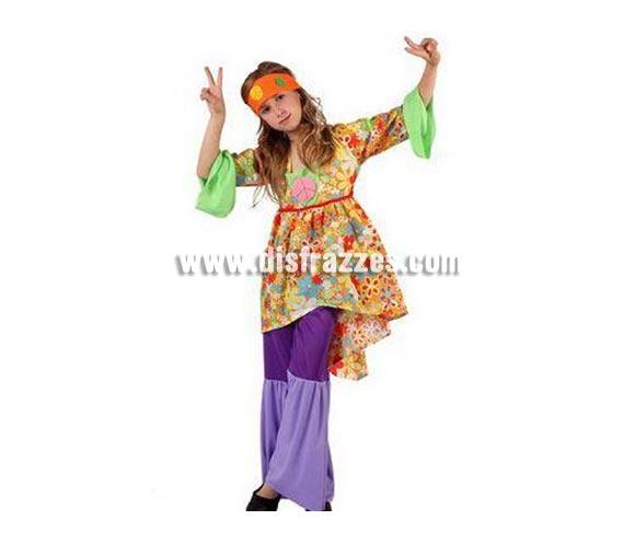 Disfraz de Hippie para niñas de 7 a 9 años. Incluye camiseta, pantalón de campana y cinta de la cabeza.