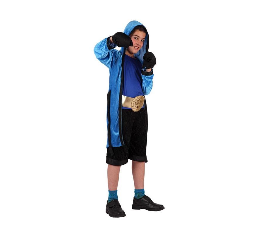 Disfraz de Boxeador para niños de 5 a 6 años. Incluye pantalón, camiseta, guantes cinturón y bata con capucha.