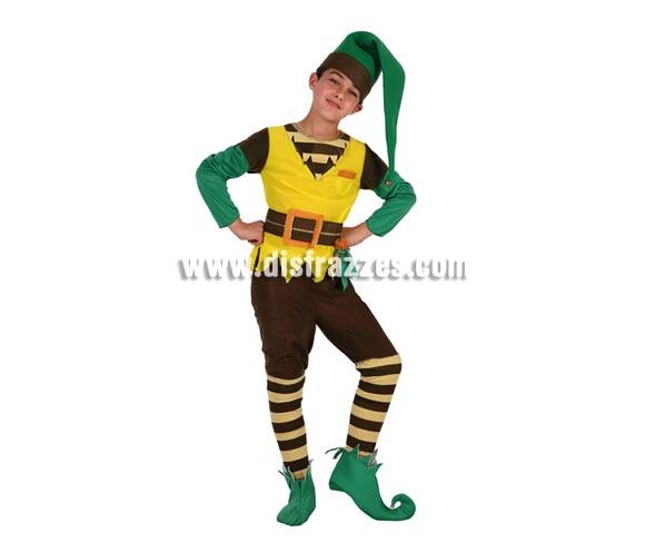 Disfraz de Duende Verde para niños de 5 a 6 años. Incluye pantalón, camiseta con cinturón, gorro y cubrepies.