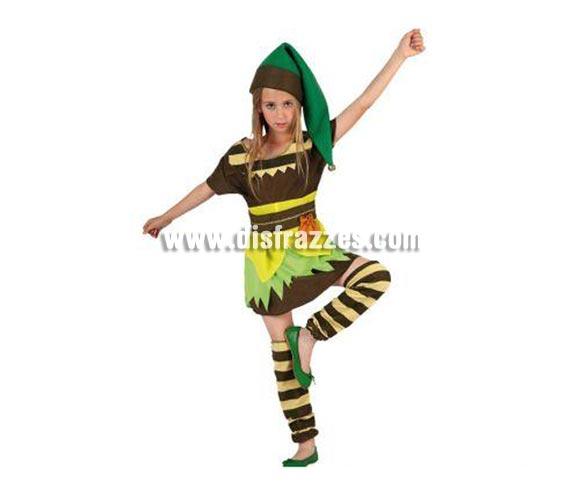 Disfraz de Duende Verde para niñas de 5 a 6 años. Incluye vestido, cinturón, gorro y polainas.