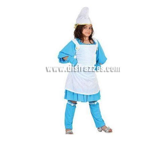 Disfraz de Enanita Azul o Pitufina para niñas de 7 a 9 años. Incluye vestido, gorro, guantes y polainas.