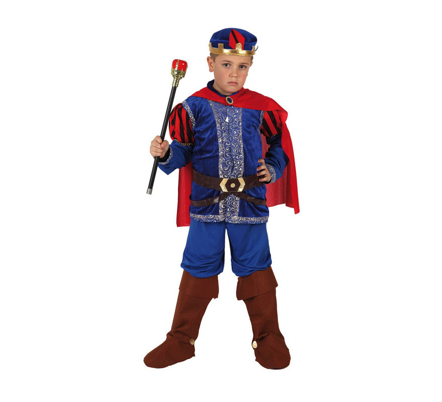Disfraz de Príncipe Medieval para niños de 3 a 4 años. Incluye disfraz completo SIN cetro. El cetro lo podrás encontrar en la sección de Complementos. Disfraz de Príncipe de cuento Azul para niños.