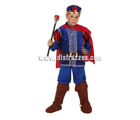 Disfraz de Príncipe Medieval para niños de 10 a 12 años. Incluye disfraz completo SIN cetro. El cetro lo podrás encontrar en la sección de Complementos. Disfraz de Príncipe de cuento Azul para niños.