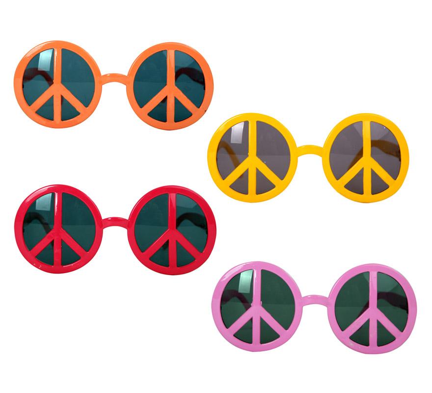 Gafas de Hippie con el símbolo de la Paz, cuatro colores surtidos. Talla universal. Precio por unidad, se venden por separado.