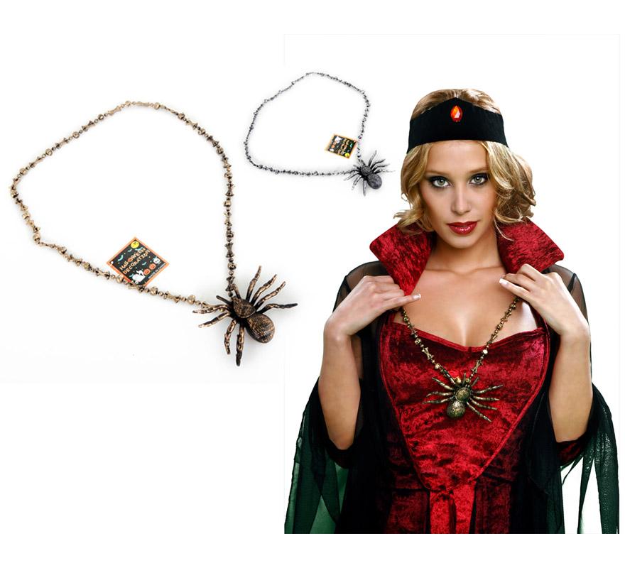 Collar con Araña de 61 cm. para Halloween. Talla única. Dos colores surtidos. Precio por unidad, se venden por separado.