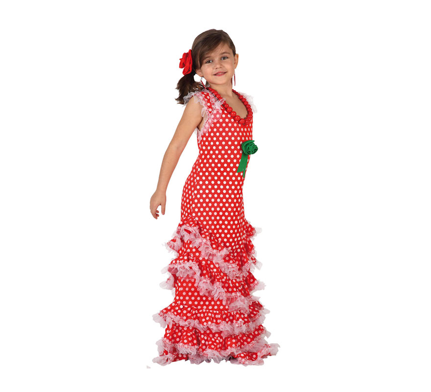 Disfraz de Sevillana Rojo con lunar blanco para niñas de 5 a 6 años. Incluye vestido y flor de la cabeza. Pendientes y Collar NO incluidos, podrás verlos en la sección de Complementos.