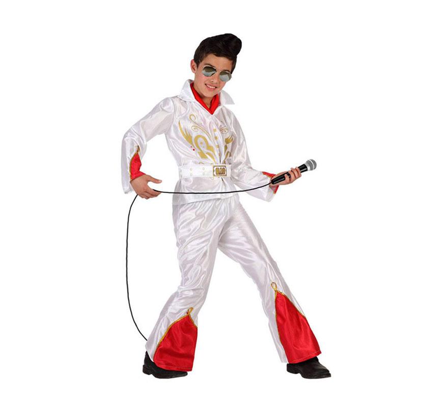 Disfraz de Rockero o de Estrella del Rock para niños de 7 a 9 años. Incluye pantalón con campana, camiseta y cinturón. Gafas y peluca NO incluidas, podrás verlas en la sección de Complementos, también tenemos algún tipo de micrófono.