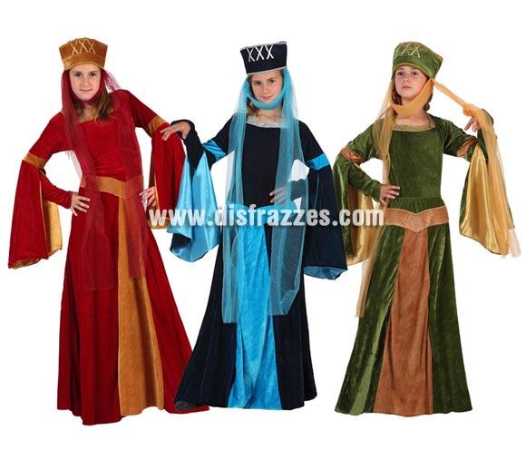 Disfraz de Dama Medieval para niñas de 5 a 6 años. Incluye vestido y tocado sin tul. Tres modelos surtidos, precio por unidad, se venden por separado.