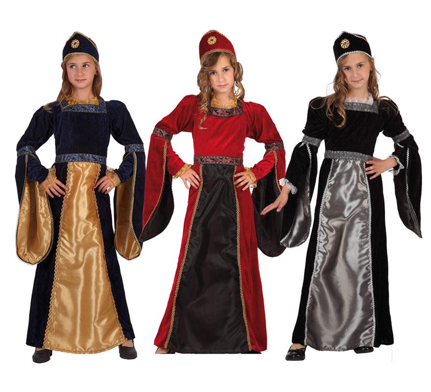 Disfraz de Princesa Medieval para niñas de 5 a 6 años. Incluye vestido y tocado. Tres modelos surtidos, precio por unidad, se venden por separado.