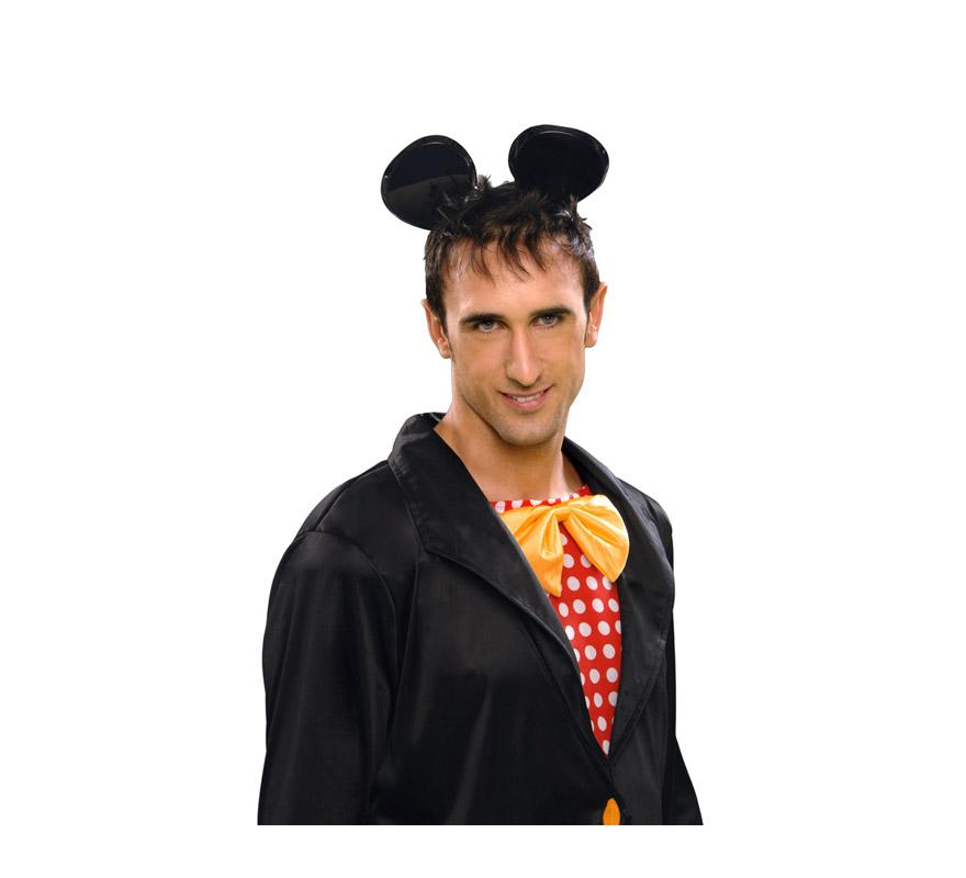 Diadema con orejas de Ratón de PVC negro charol para Carnavales. Talla Universal. Orejas de Mickey Mouse.