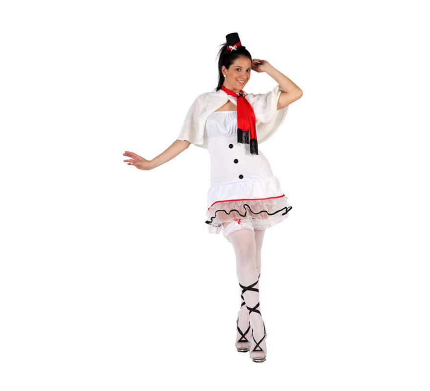 Disfraz de Muñeco de Nieve sexy para mujer. Talla Standar 38/42. Incluye vestido, toca, bufanda y gorrito.