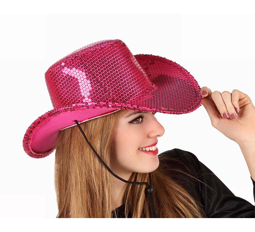 Sombrero Cowboy o Vaquero rosa con lentejuelas. Éste sombrero es perfecto para Despedidas de Soltero y Soltera.