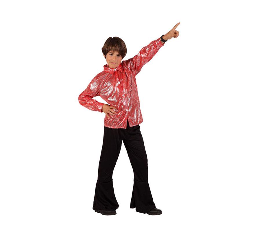 Disfraz de Disco Man Brillo rojo para niños de 7 a 9 años. Incluye pantalón y camisa.