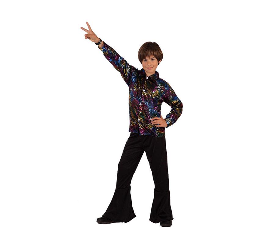 Disfraz de Chico de la Disco para niños de 7 a 9 años. Incluye pantalon y camisa.