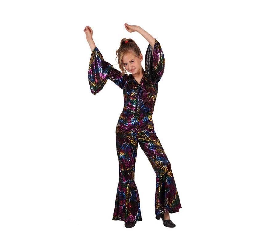 Disfraz Chica de la Disco para niñas de 5 a 6 años. Incluye mono. Disfraz de niña Discotequera para disfrazarse de la Película Fiebre del Sábado noche.