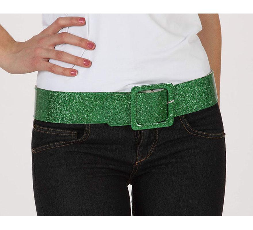 Cinturón o Correa brillante de color verde. Ideal como complemento de los disfraces de los años 60, 70 y 80.