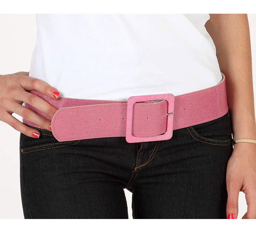 Cinturón o Correa brillante de color rosa. Ideal como complemento de los disfraces de los años 60, 70 y 80.