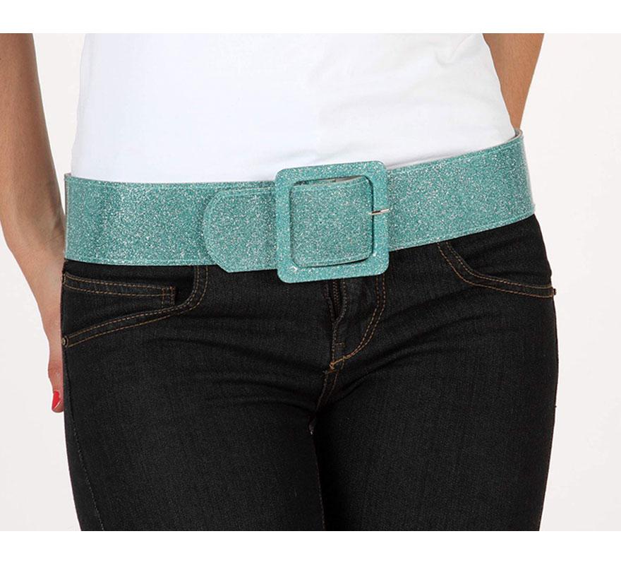 Cinturón o Correa brillante de color azul turquesa. Ideal como complemento de los disfraces de los años 60, 70 y 80.