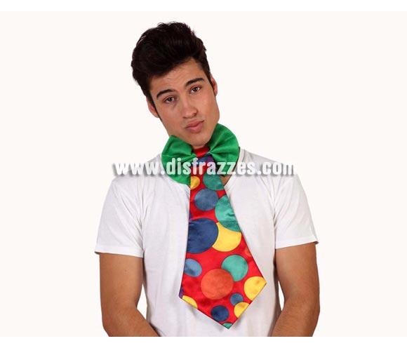 Corbata de Payaso a Lunares multicolor de 49 cm.