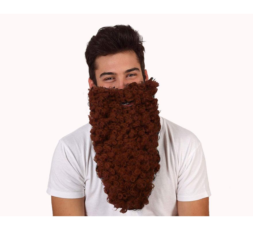 Barba de Rey Mago Gaspar marrón larga rizada. También sirve como barba de Troglodita o Cavernícola.