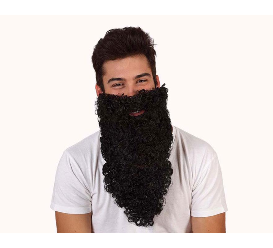 Barba de Rey negra larga rizada.