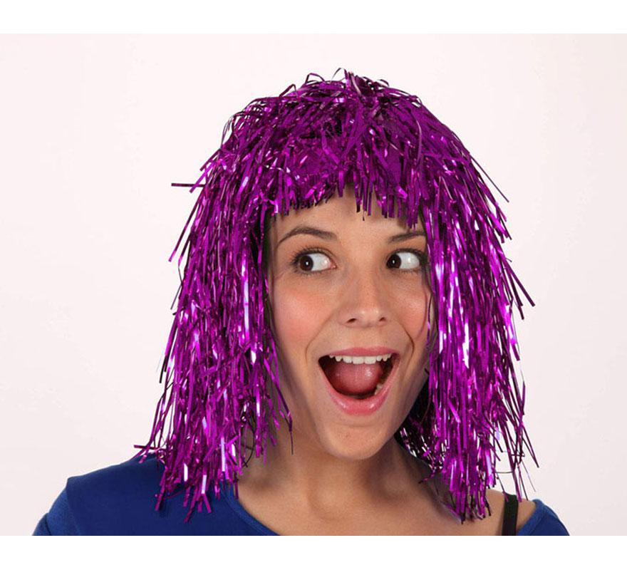 Peluca Destellos púrpura. Talla única. Peluca ideal para Nochevieja.
