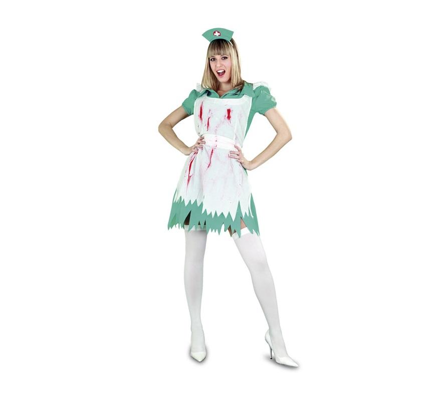 Disfraz de Enfermera salpicada de sangre adulta para Halloween. Talla estándar M-L = 38/42. Disfraz de Halloween barato que incluye vestido, delantal manchado y tocado.