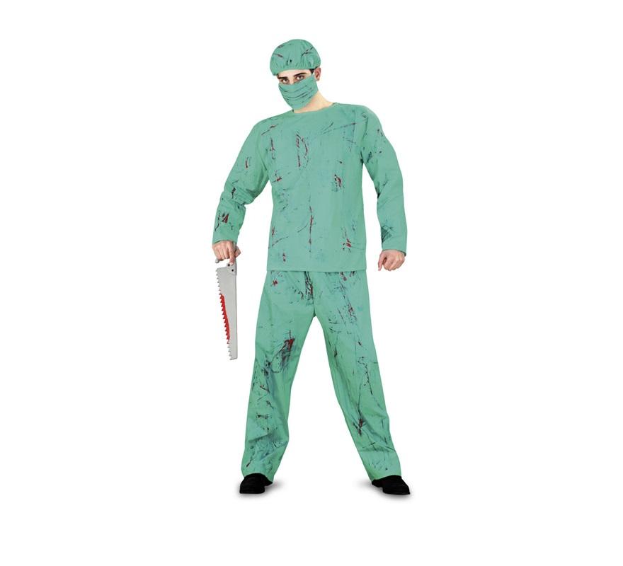 Disfraz de Cirujano salpicado de sangre adulto para Halloween. Talla estándar M-L = 52/54. Disfraz barato de Halloween que incluye camisa, pantalón, mascarilla y gorro. Serrucho NO incluido, podrás verlo en la sección Complementos.