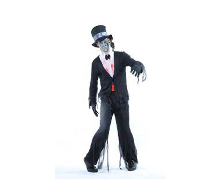 Disfraz de Zombie con Esmoquin adulto para Halloween. Talla estándar M-L = 52/54. Disfraz de Halloween de buena calidad que incluye pechera, pantalón, chaqueta y sombrero.