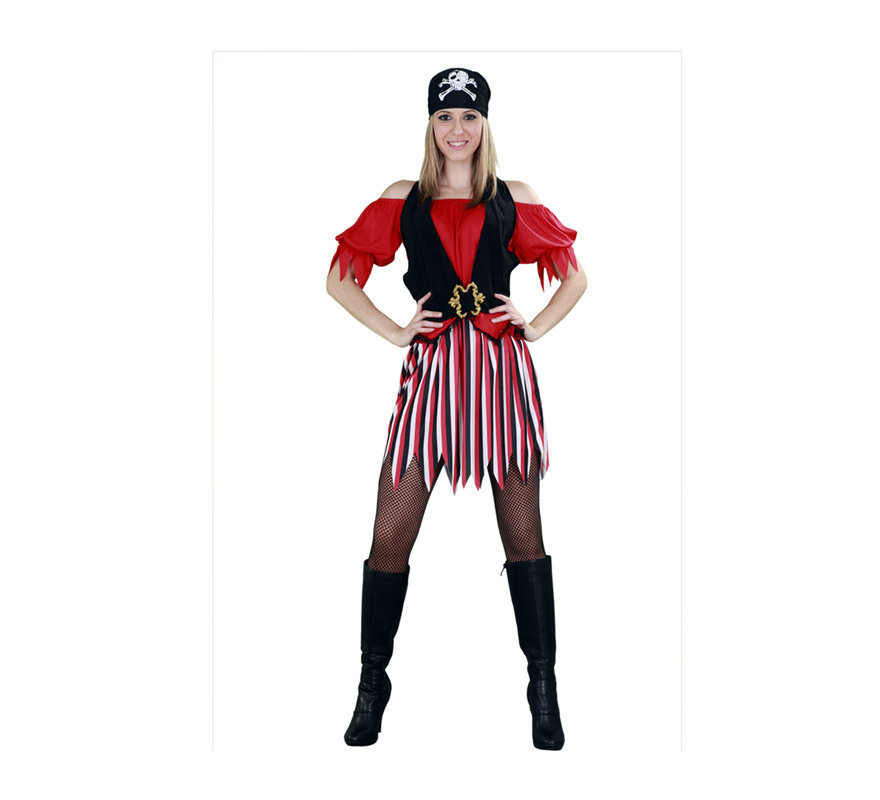 Disfraz barato de Chica Pirata adulta. Talla Standar M-L = 38/42. Incluye falda, camisa con chaleco y pañuelo. Disfraz Sexy de Pirata para chicas.