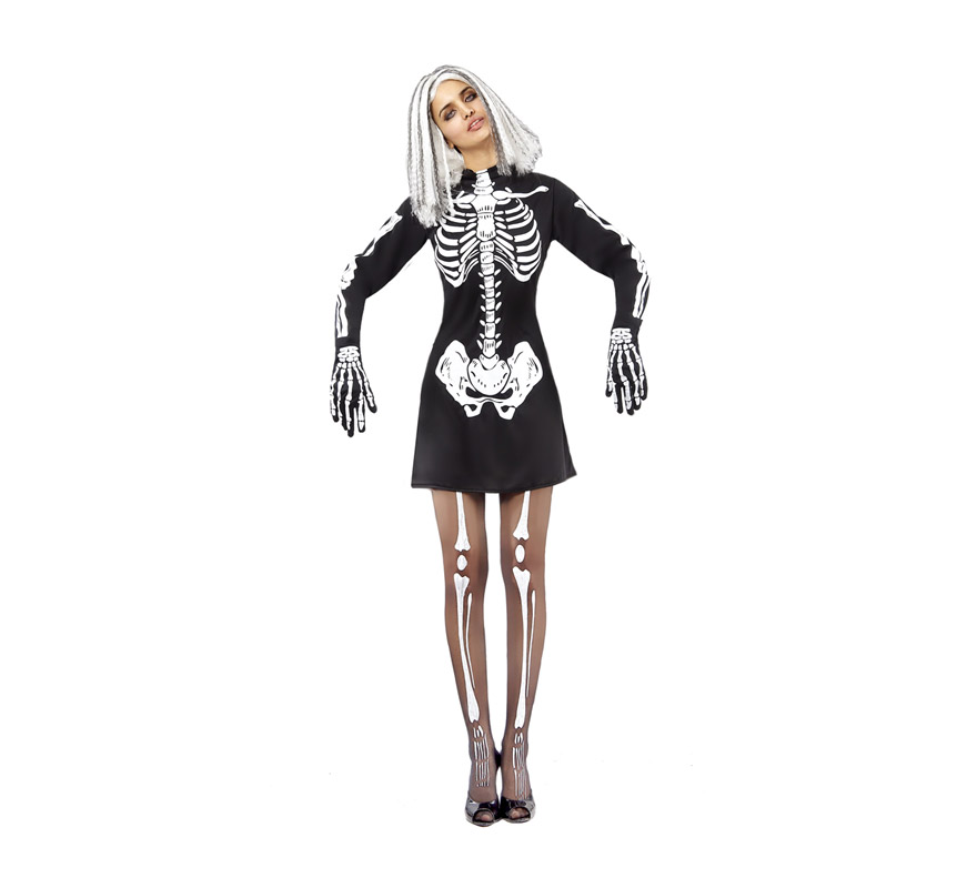 Disfraz de Esqueleto adulta para Halloween. Talla estándar M-L = 38/42. Disfraz super barato de Halloween que incluye el vestido. Guantes y medias NO incluidos, podrás verlos en la sección Complementos.