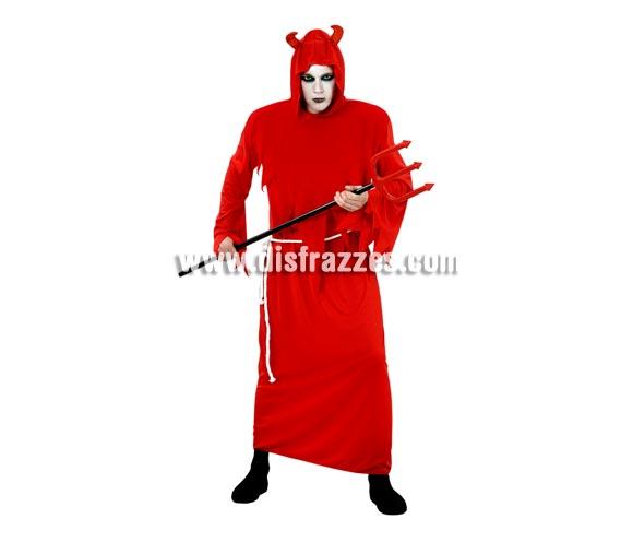 Disfraz de Diablo con túnica adulto para Halloween. Talla standar M-L = 52/54. Disfraz barato para Halloween que incluye toga con capucha y cinturón. Tridente NO incluido, podrás verlo en la sección de Complementos para Halloween.