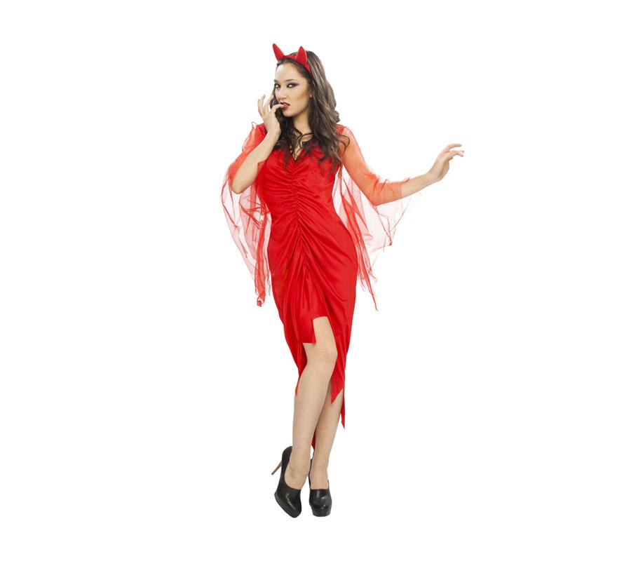 Disfraz de Diablesa o Demonia con mangas de tul adulta para Halloween. Talla standar M-L = 38/42. Disfraz de Halloween super barato que incluye vestido y tocado con cuernos.