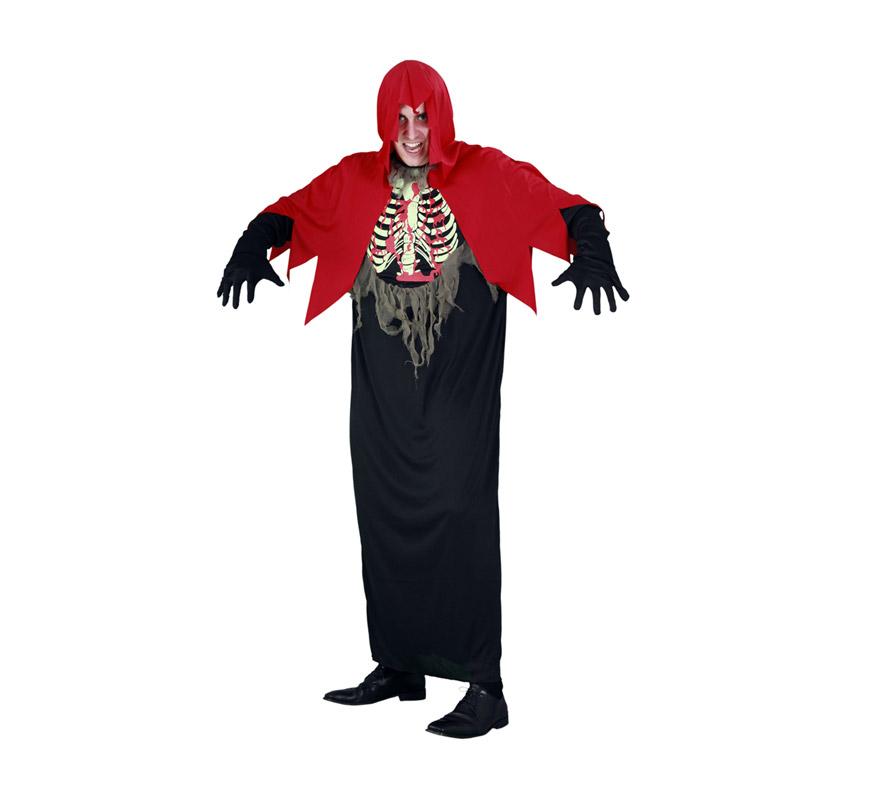 Disfraz Túnica del Horror adulto para Halloween. Talla estándar M-L = 52/54. Disfraz barato para Halloween que incluye túnica y capa con capucha.